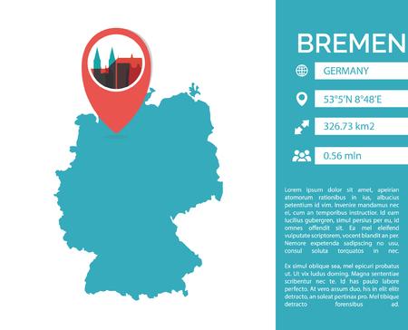 Bremen map shape vector infographics template.