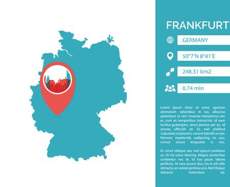 Frankfurt map shape vector infographics template.