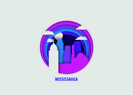 Creative paper cut layer craft Mississauga vector illustration. Origami style city skyline travel art in depth illusion