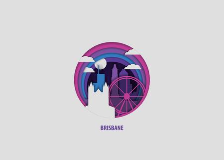 Creative paper cut layer craft Brisbane vector illustration. Origami style city skyline travel art in depth illusion Illustration