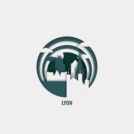 Creative paper cut layer craft Lyon vector illustration. Origami style city skyline travel art in depth illusion  イラスト・ベクター素材
