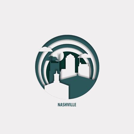 Creative paper cut layer craft Nashville vector illustration. Origami style city skyline travel art in depth illusion