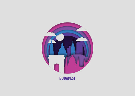 Creative paper cut layer craft Budapest vector illustration. Origami style city skyline travel art in depth illusion Stock Illustratie