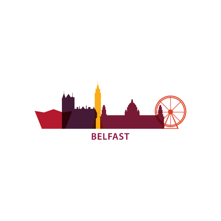 UK Great Britain Belfast city skyline landscape silhouette vector logo icon. Cool urban horizon illustration concept