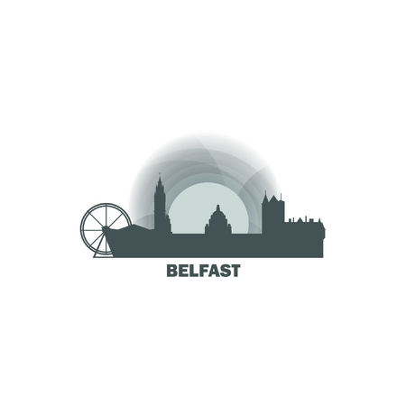 UK Great Britain Belfast city skyline landscape night silhouette vector logo icon. Cool urban horizon illustration concept