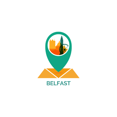 UK Great Britain Belfast city skyline landscape silhouette flat vector logo icon. Cool urban horizon map pin point geolocation illustration concept