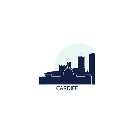 UK Great Britain Wales Cardiff city skyline landscape silhouette vector logo icon. Cool urban horizon illustration concept