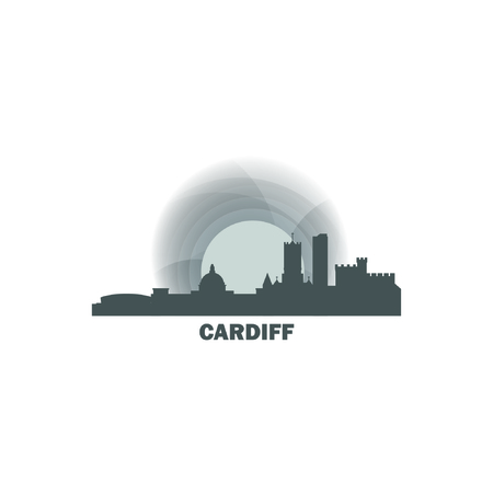 UK Great Britain Wales Cardiff city skyline landscape night silhouette vector logo icon. Cool urban horizon illustration concept Vettoriali