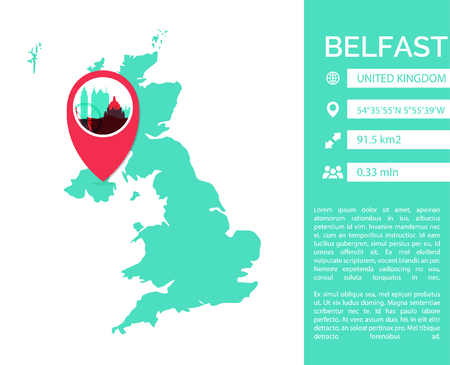 Belfast pin point map shape vector infographics template. Modern city data statistic isolated illustration. Illustration