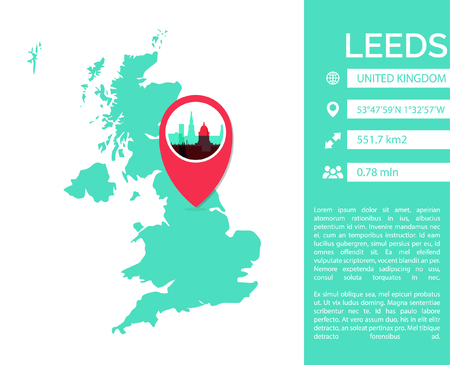 Leeds pin point map shape vector infographics template. Modern city data statistic isolated illustration.