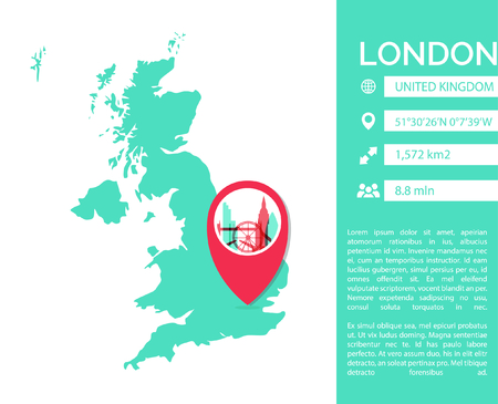 London pin point map shape vector infographics template. Modern city data statistic isolated illustration.