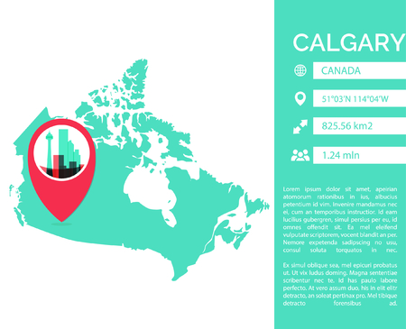 Calgary pin point map shape vector infographics template. Modern city data statistic isolated illustration