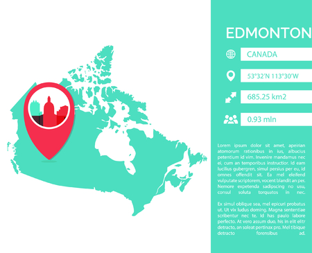Edmonton pin point map shape vector infographics template. Modern city data statistic isolated illustration