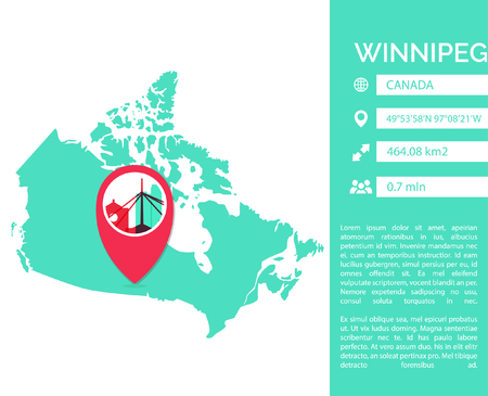 Winnipeg pin point map shape vector infographics template. Modern city data statistic isolated illustration Illustration
