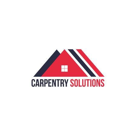 Construction house carpentry company isolated vector logo icon concept