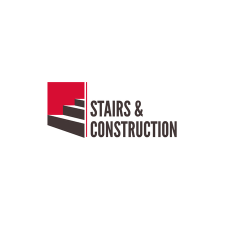 Carpentry stairs construction company vector isolated logo concept. Modern business icon