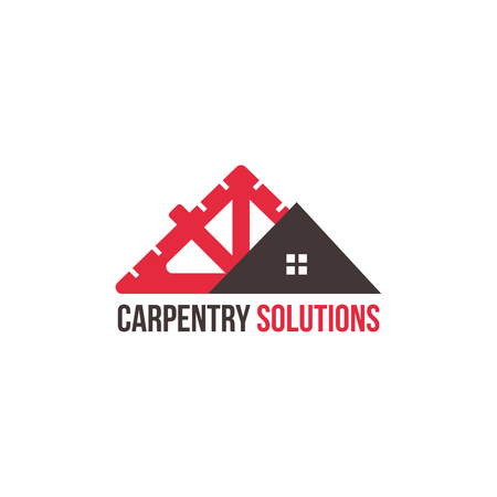 Construction maison menuiserie entreprise isolé vector logo icône concept
