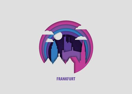 Creative paper cut layer craft Frankfurt vector illustration. Origami style city skyline travel art in depth illusion Stock Illustratie