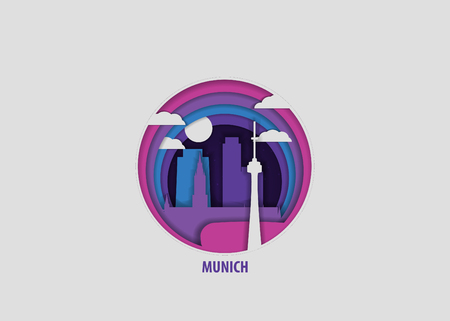 Creative paper cut layer craft Munich vector illustration. Origami style city skyline travel art in depth illusion