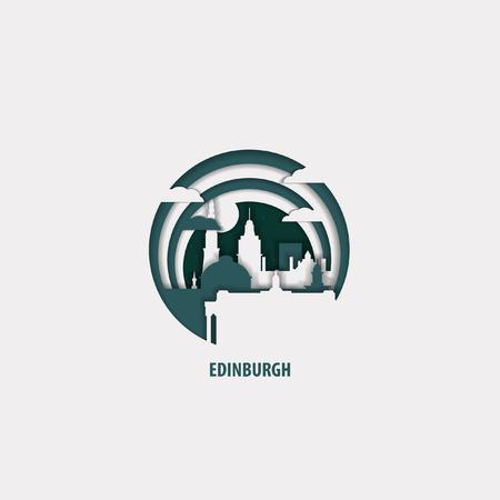 Creative paper cut layer craft Edinburgh vector illustration. Origami style city skyline travel art in depth illusion