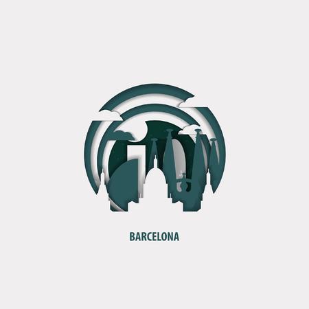 Creative paper cut layer craft Barcelona vector illustration. Origami style city skyline travel art in depth illusion