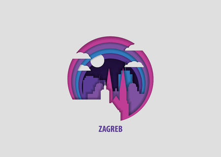 Creative paper cut layer craft Zagreb vector illustration. Origami style city skyline travel art in depth illusion