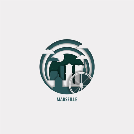 Creative paper cut layer craft Marseille vector illustration. Origami style city skyline travel art in depth illusion Vectores