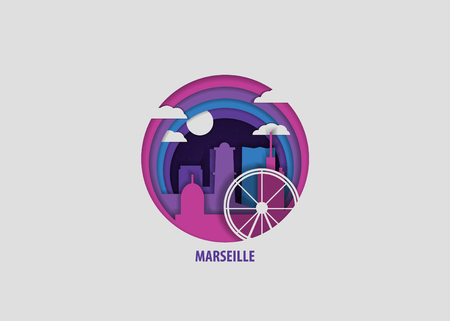 Creative paper cut layer craft Marseille vector illustration. Origami style city skyline travel art in depth illusion Vector Illustration