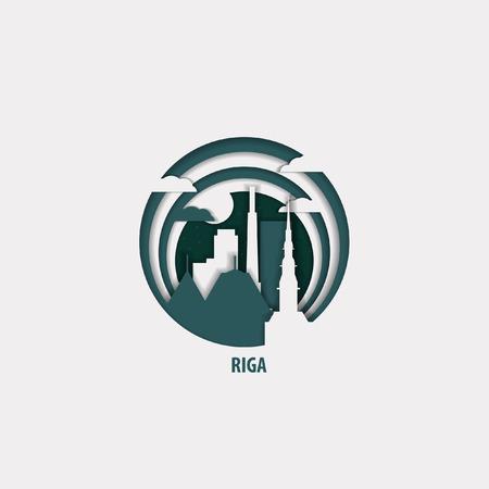 Creative paper cut layer craft Riga vector illustration. Origami style city skyline travel art in depth illusion