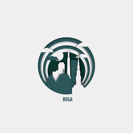 Creative paper cut layer craft Riga vector illustration. Origami style city skyline travel art in depth illusion