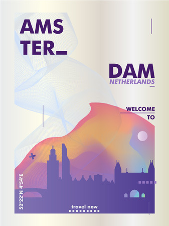 Modern Netherlands Amsterdam skyline gradient poster. Travel city vector illustration