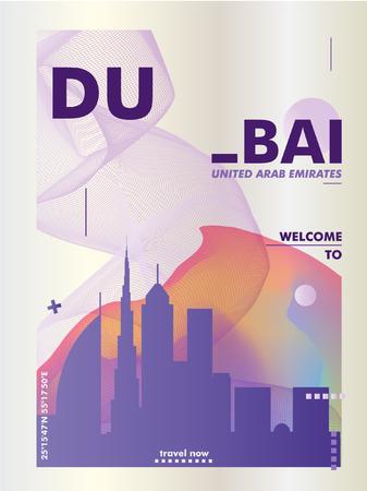Manifesto di pendenza dell'orizzonte di Dubai Emirati Arabi Uniti moderno. Illustrazione di vettore della città di viaggio Vettoriali