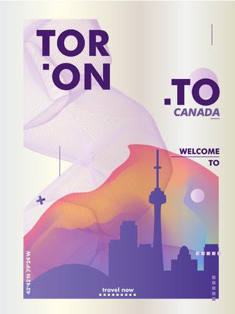 Modern Canada Toronto skyline gradient poster. Travel city vector illustration