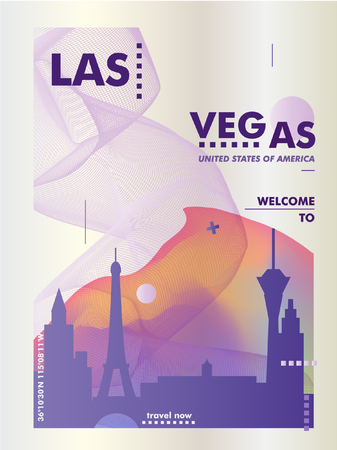 Modern USA United States of America Las Vegas skyline gradient poster. Travel city vector illustration