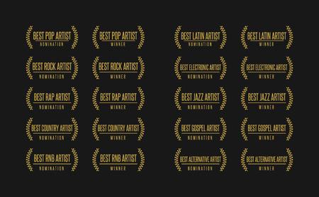 Music award best artist pop rock rap gospel country jazz winner nomination. Laurel vector logo icon set  イラスト・ベクター素材