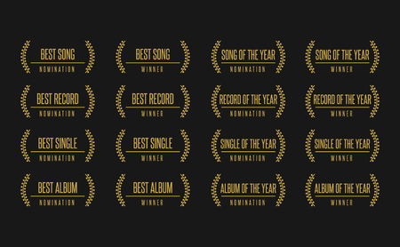 Music award best song album winner nomination. Laurel vector logo icon set