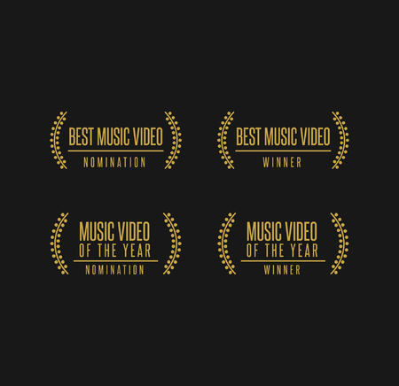 Music award best music video winner nomination. Laurel vector logo icon set