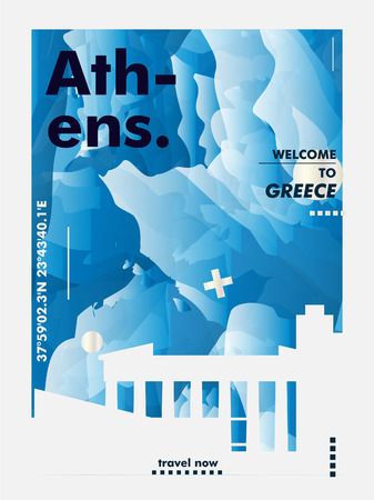 Modern Greece Athens skyline abstract gradient poster art. Travel guide cover city vector illustration