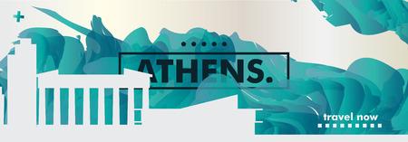 Arte moderno de la bandera del sitio web del gradiente del extracto del horizonte de Atenas de Grecia. Ilustración de vector de ciudad de cubierta de guía de viaje Ilustración de vector