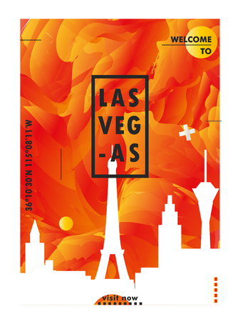 Modern USA United States of America Las Vegas skyline abstract gradient poster art. Travel guide cover city vector illustration