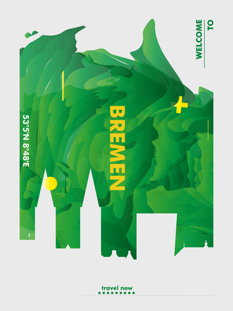 Modern Germany Bremen skyline abstract gradient poster art. Travel guide cover city vector illustration