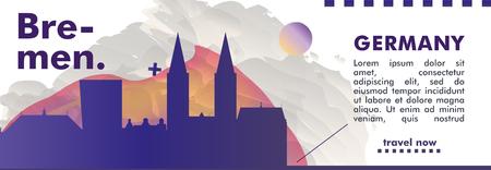 Modern Germany Bremen skyline abstract gradient website banner art. Travel guide cover city vector illustration Illustration