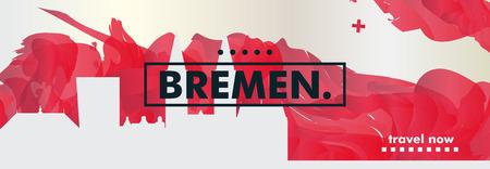 Modern Germany Bremen skyline abstract gradient website banner art. Travel guide cover city vector illustration Ilustracja