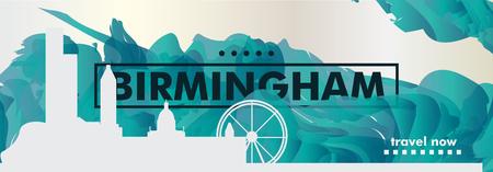 Modern UK United Kingdom Birmingham skyline abstract gradient website banner art. Travel guide cover city vector illustration