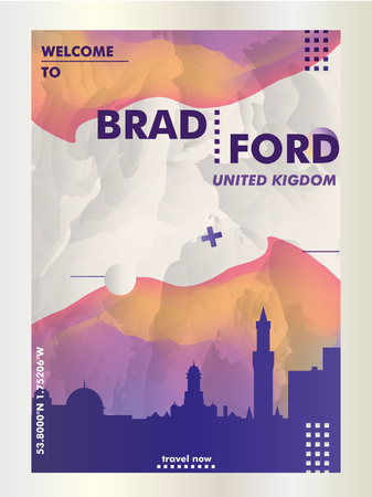 Modern UK United Kingdom Bradford skyline abstract gradient poster art. Travel guide cover city vector illustration