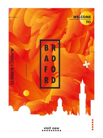 Modern UK United Kingdom Bradford skyline abstract gradient poster art. Travel guide cover city vector illustration