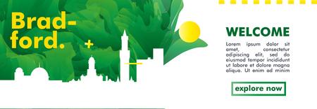 Modern UK United Kingdom Bradford skyline abstract gradient website banner art. Travel guide cover city vector illustration Ilustracja