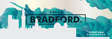 Modern UK United Kingdom Bradford skyline abstract gradient website banner art. Travel guide cover city vector illustration Illustration