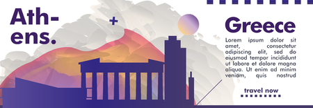 Modern Greece Athens skyline abstract gradient website banner art. Travel guide cover city vector illustration