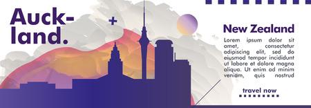 Modern New Zealand Auckland skyline abstract gradient website banner art. Travel guide cover city vector illustration Illustration